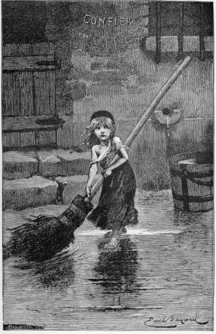 "Portrait of ""Cosette"" by Emile Bayard, from the original edition of Les Misérables (1862)"