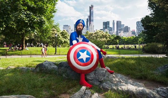 Vishavjit Singh in Central Park NYC as Sikh Captain America, photo by Fiona Aboud